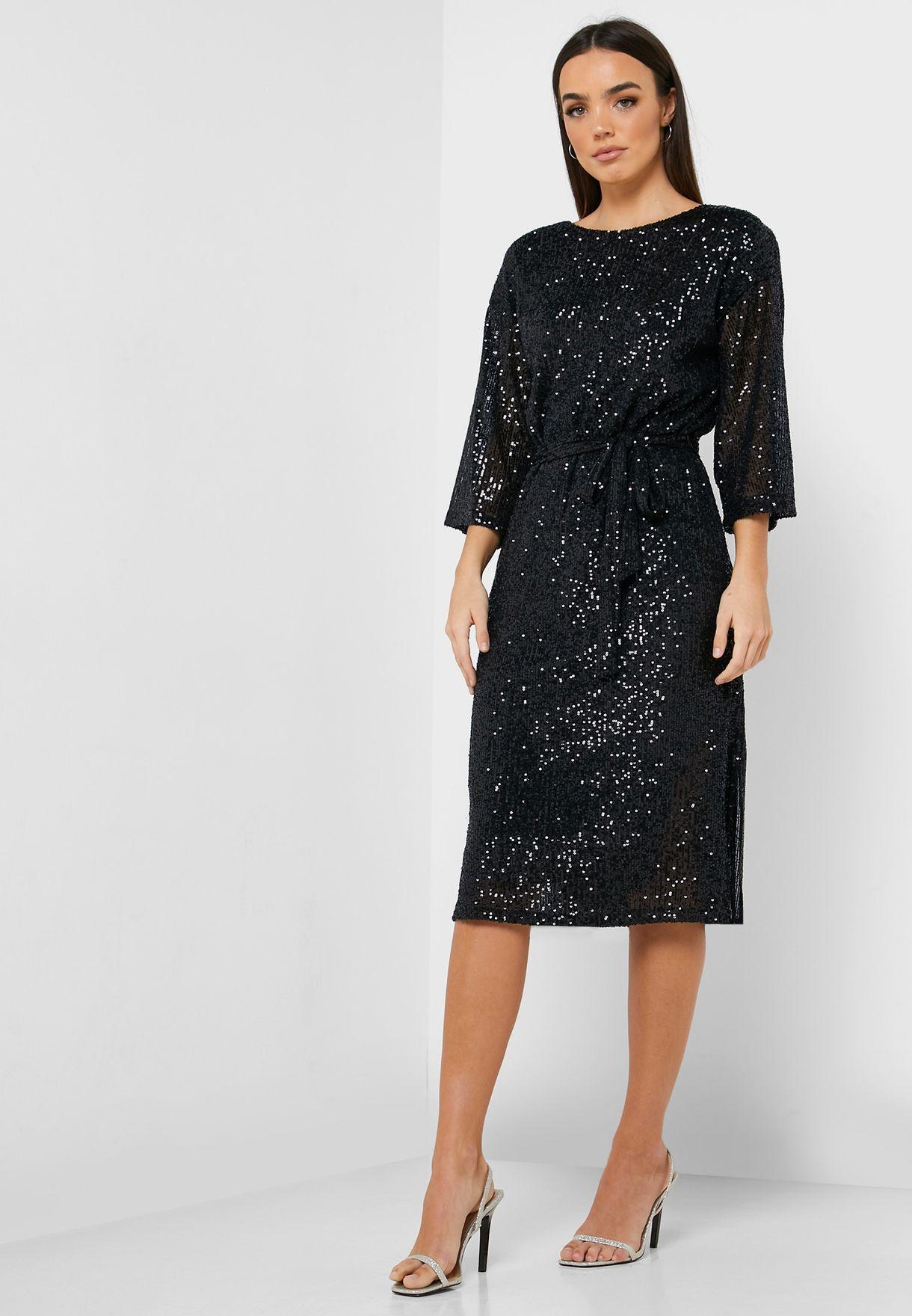 Tie Waist Sequin Dress