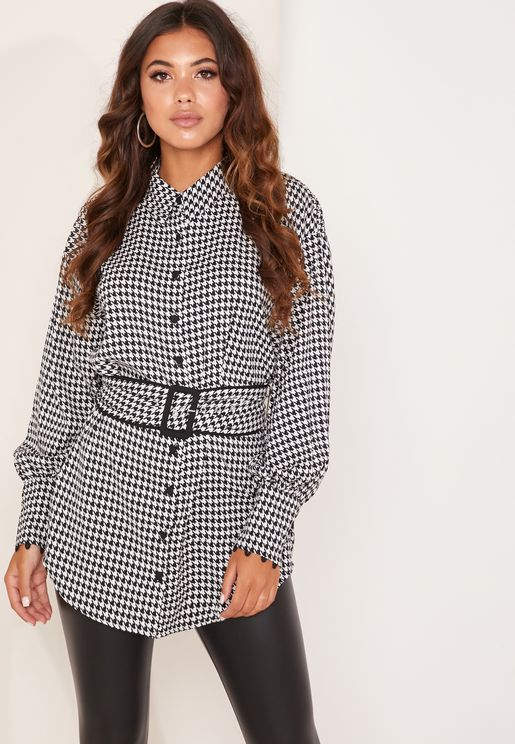 Provided Checked Belted Shirt