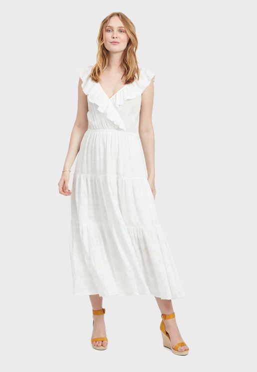 Ruffle Trim Plunge Dress