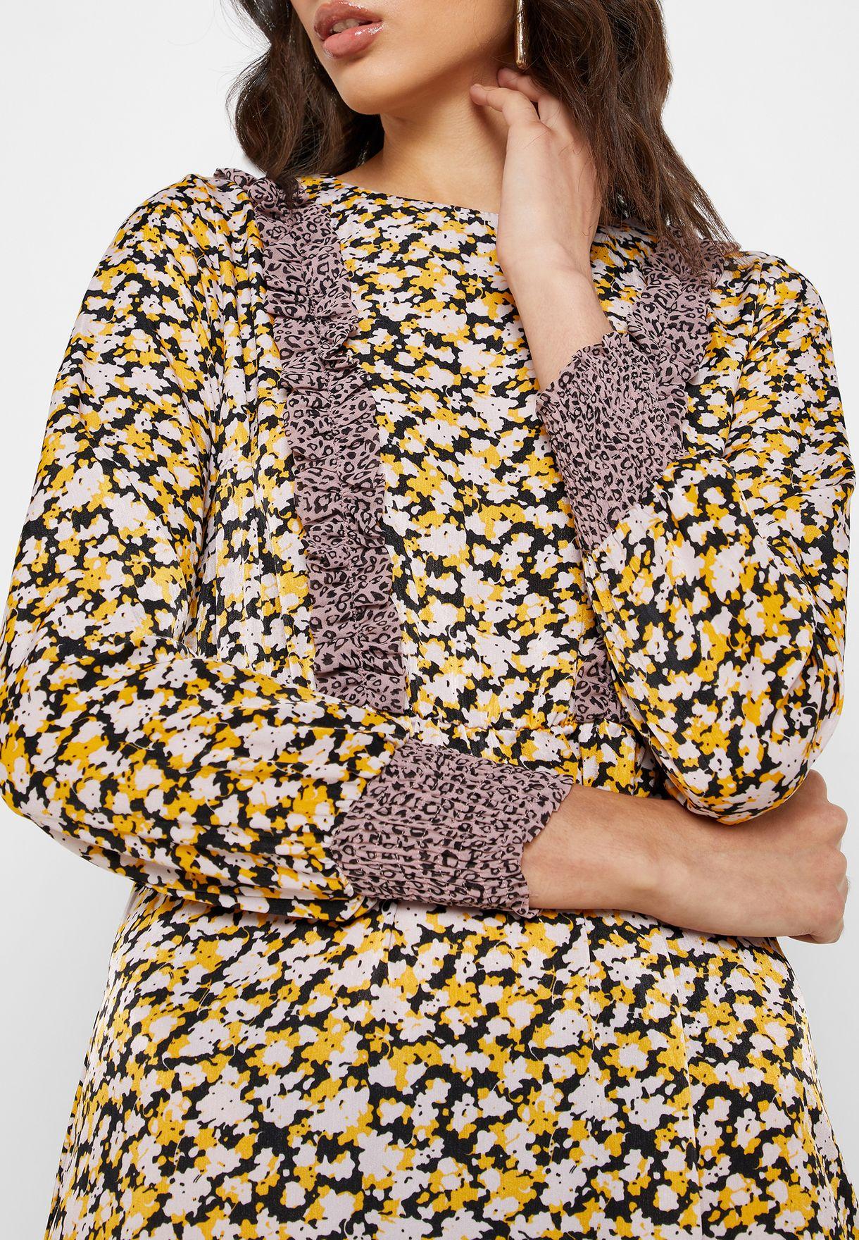 Animal Print Ruffle Hem Dress