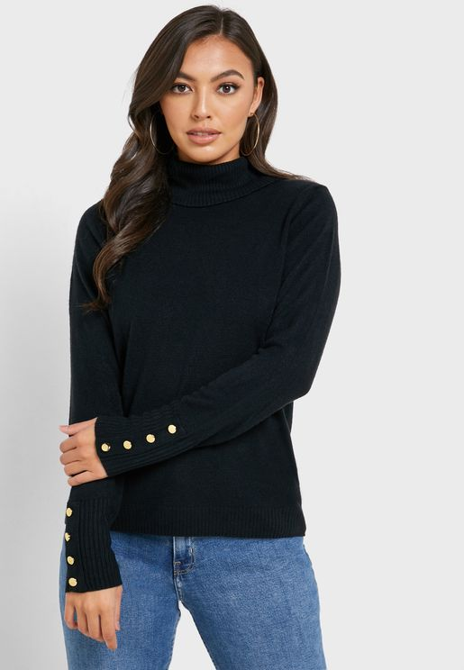 Button Cuffed Roll Neck Sweater