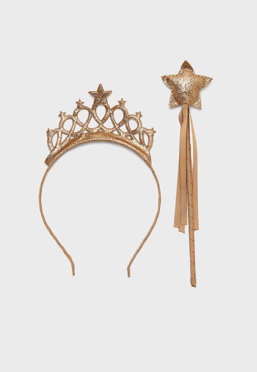 Kids Princess Hairclip+Headband