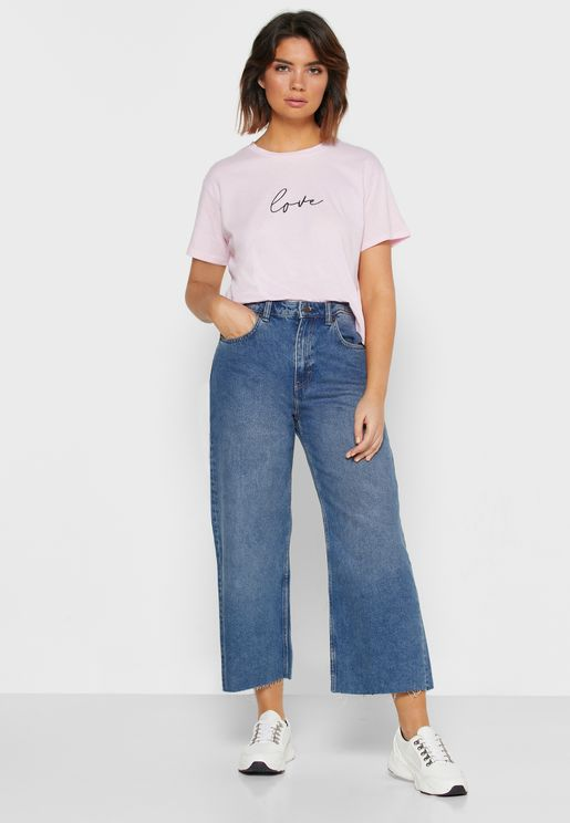 Ripped Hem Mid Rise Straight Jeans