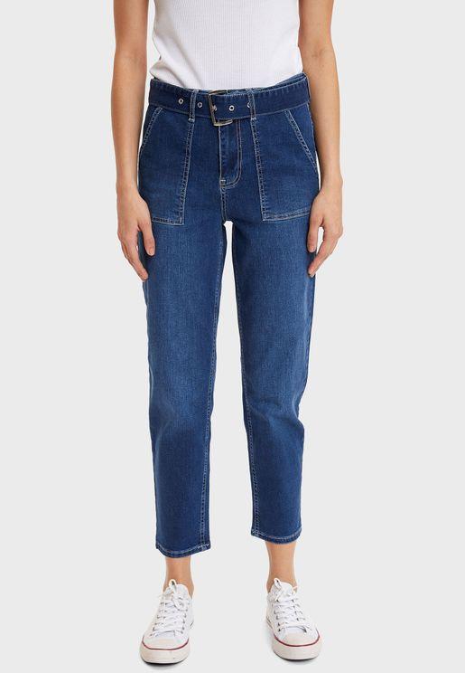 Pocket Detail High Waist Jeans