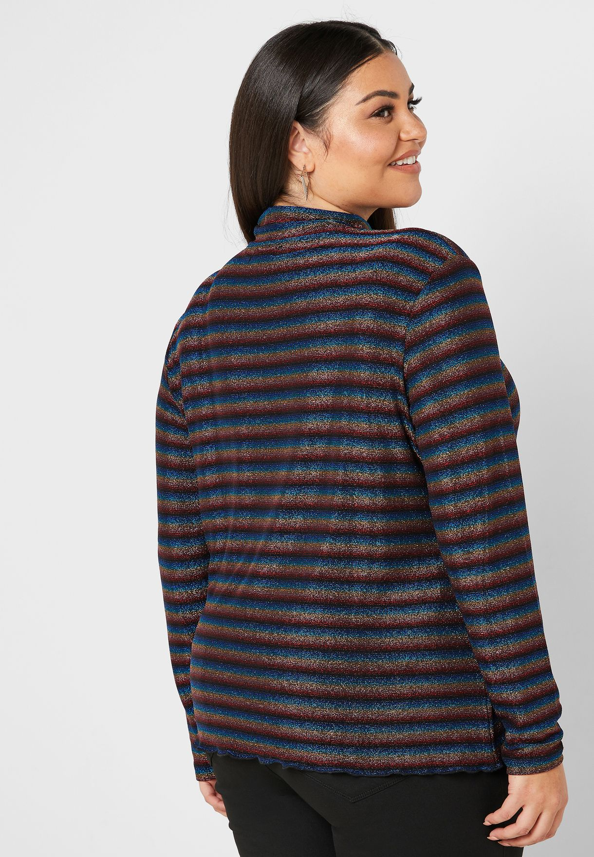 High Neck Striped Top