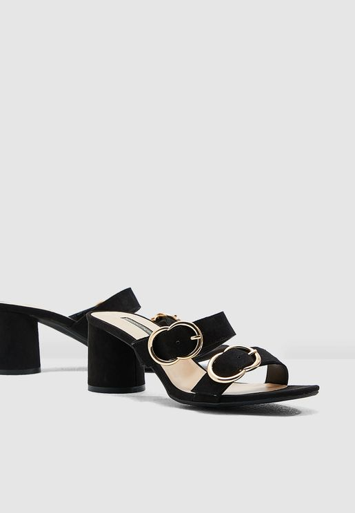 94753e3bd Sooty Round Buckle Detail Sandal