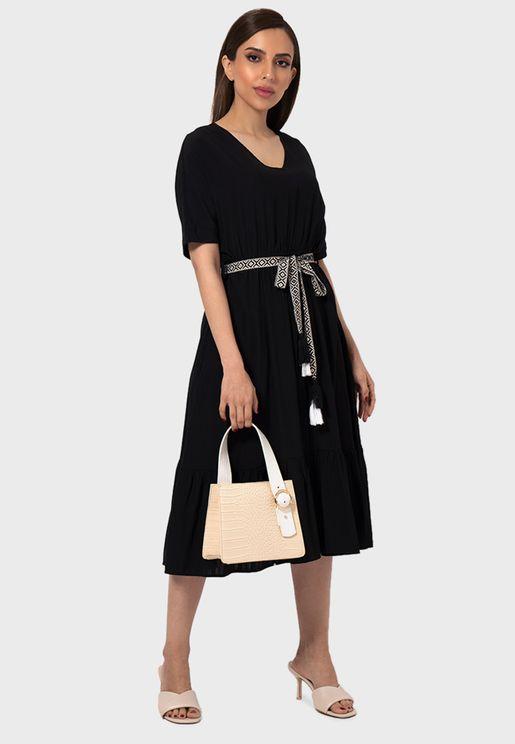 Pleated V-Neck Dress