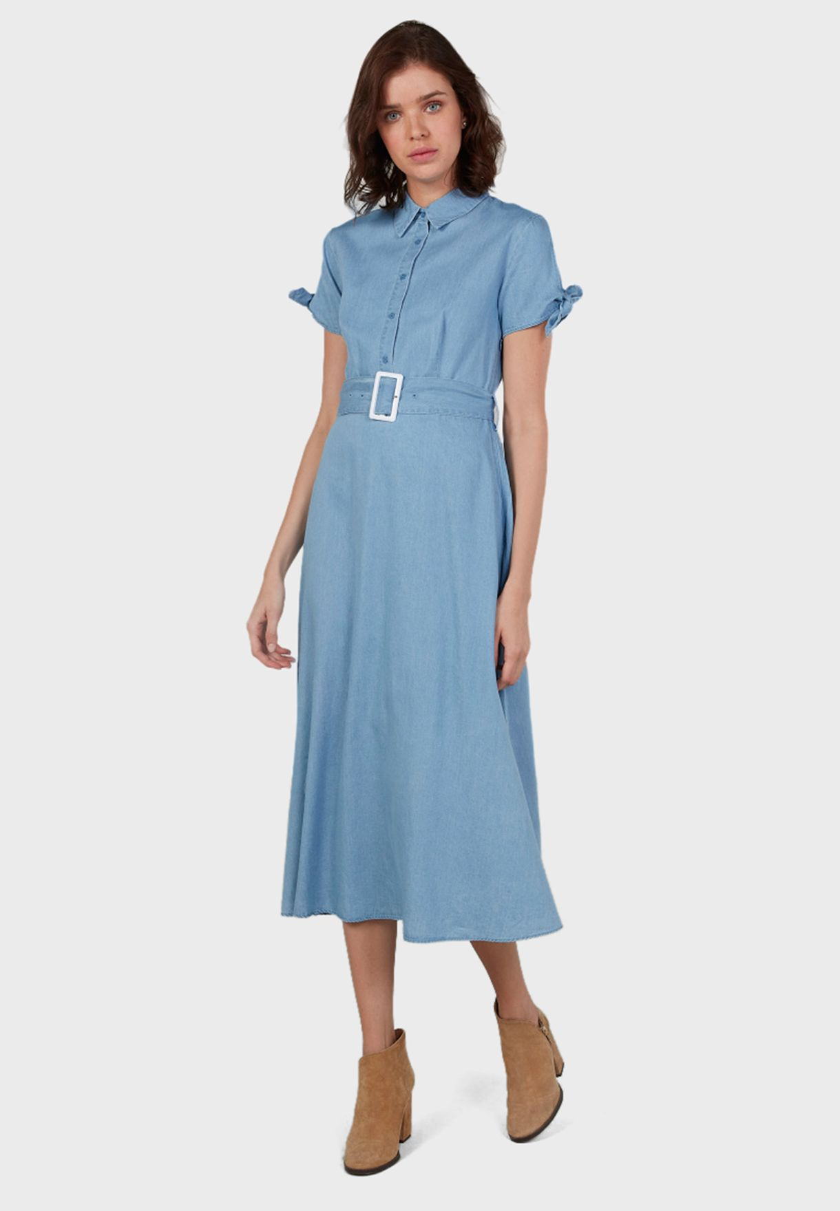 Belted Placket Shirt Dress