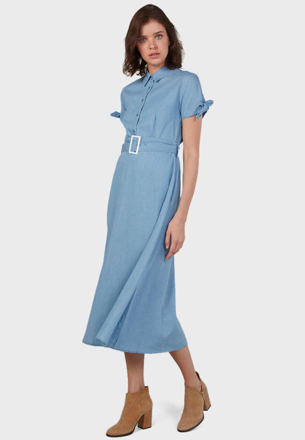 Belted Placket Shirt Dress