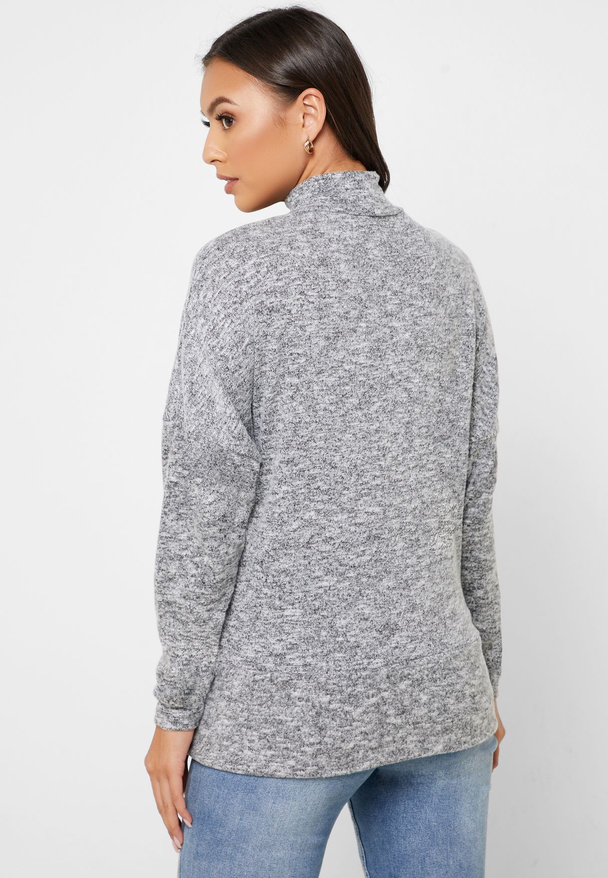 High Neck Textured Sweatshirt