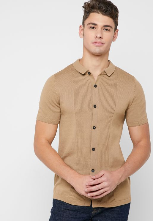 Embossed Stripes Front Shirt