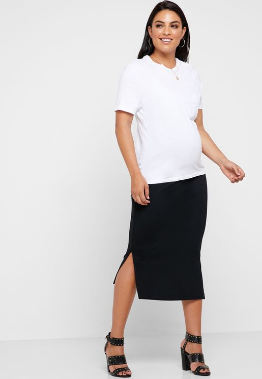 746cf308206 Side Split Midi Skirt. MATERNITY