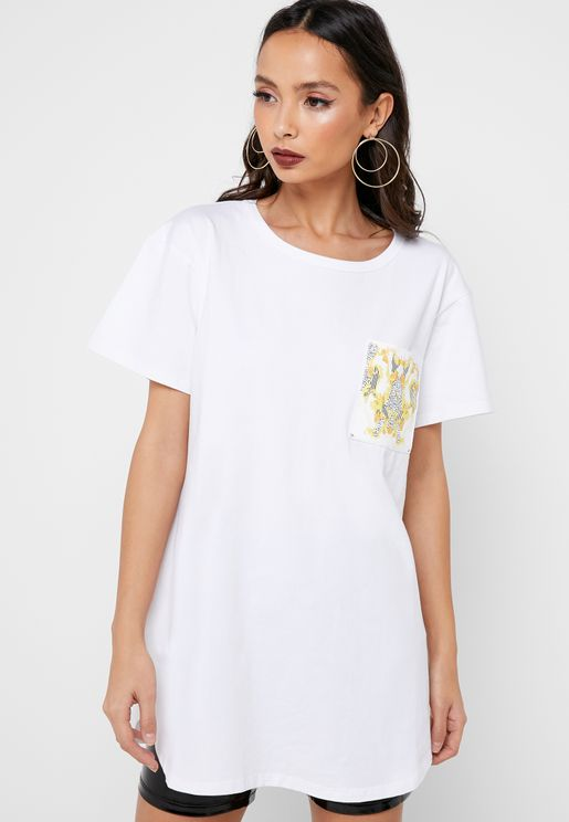 Print Pocket Oversized T-Shirt