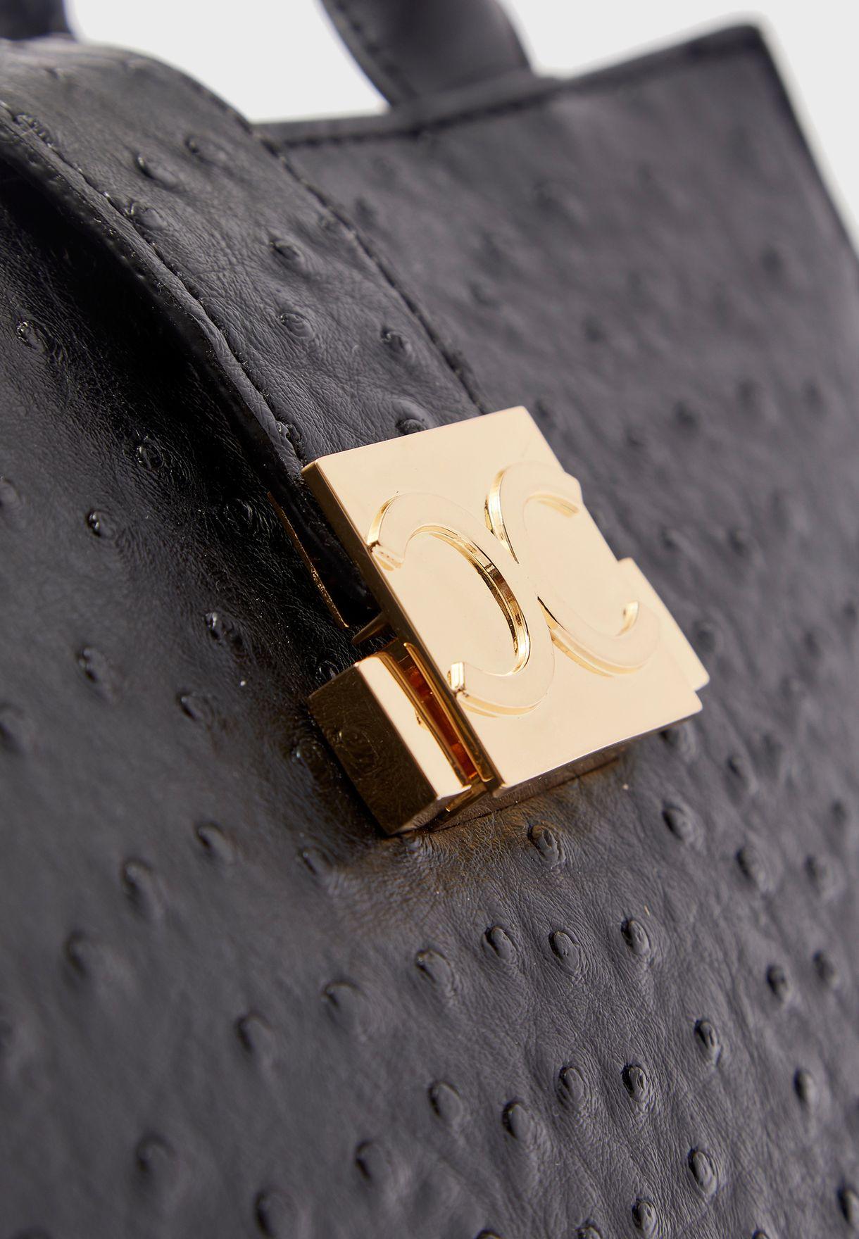 Round Handle Clasp Detail Satchel