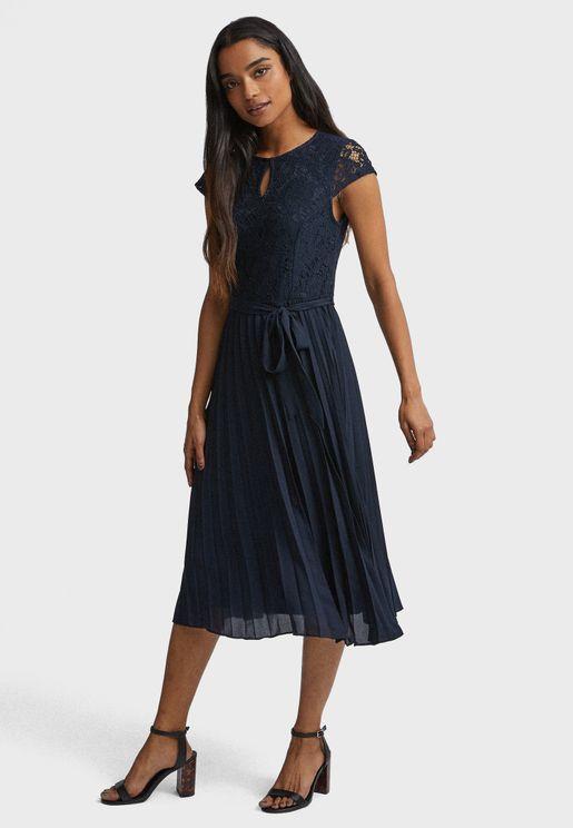 Tie Waist Lace Plisse Dress