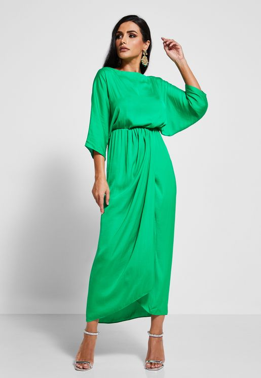 Batwing Sleeve Wrap Front Dress