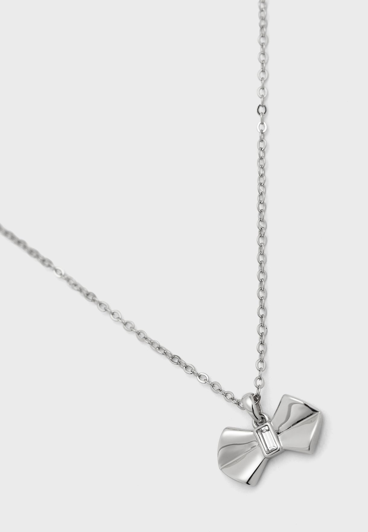 Sarrah Solitaire Bow Pendant Necklace