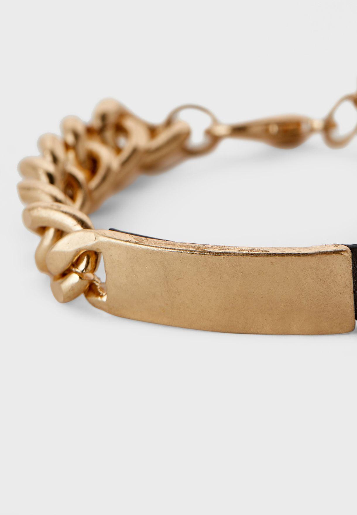 Curb Merge Leather And Metal Bracelet