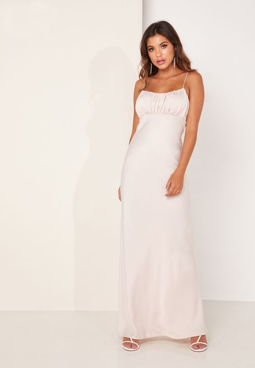 Provided Pleated Detail Gown