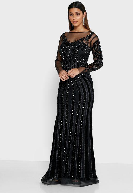 فستان ماكسي مزين بالخرز