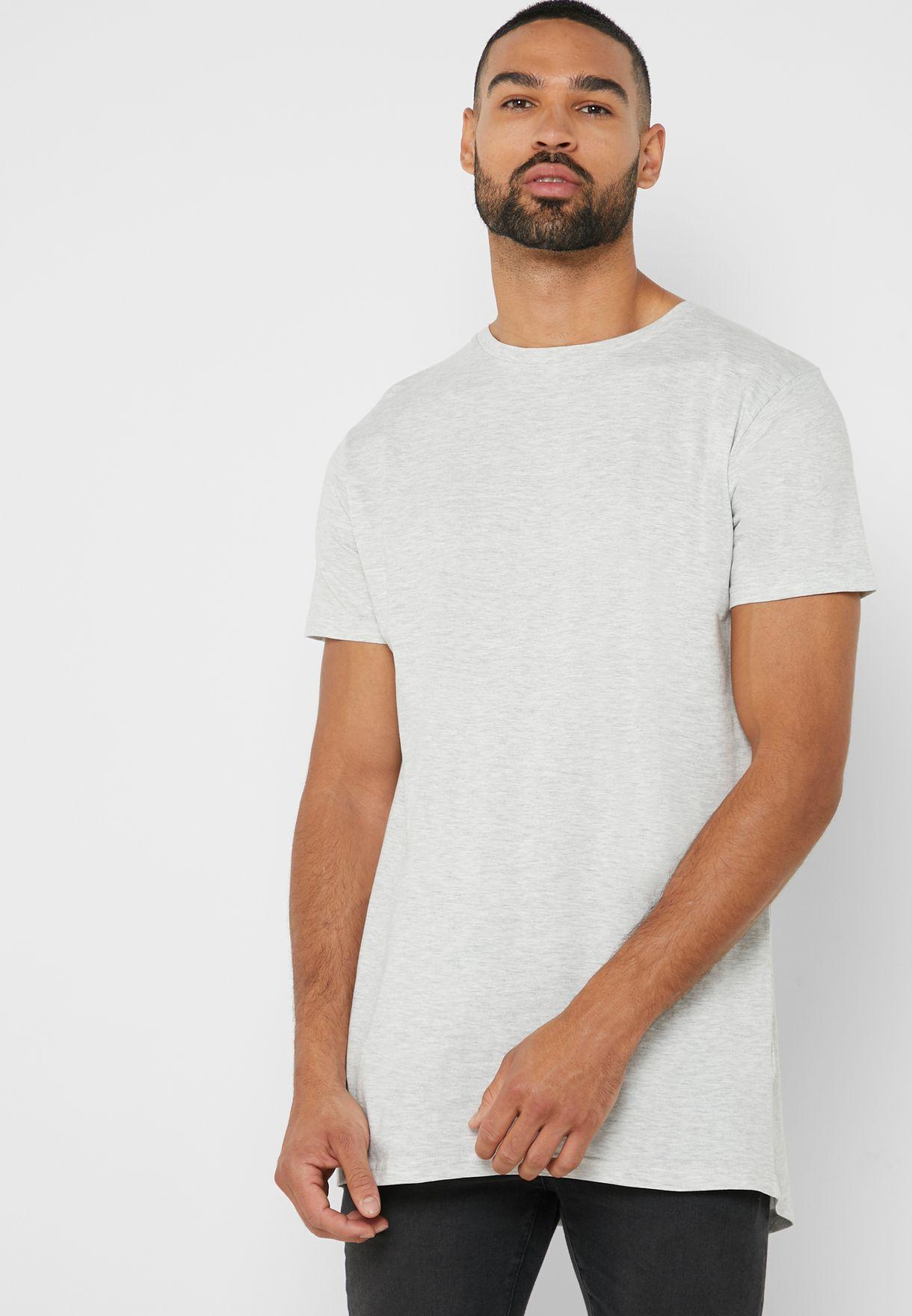 214d83d5 Shop Brave Soul grey Longline T Shirt MTS-36HARRELG for Men in UAE ...