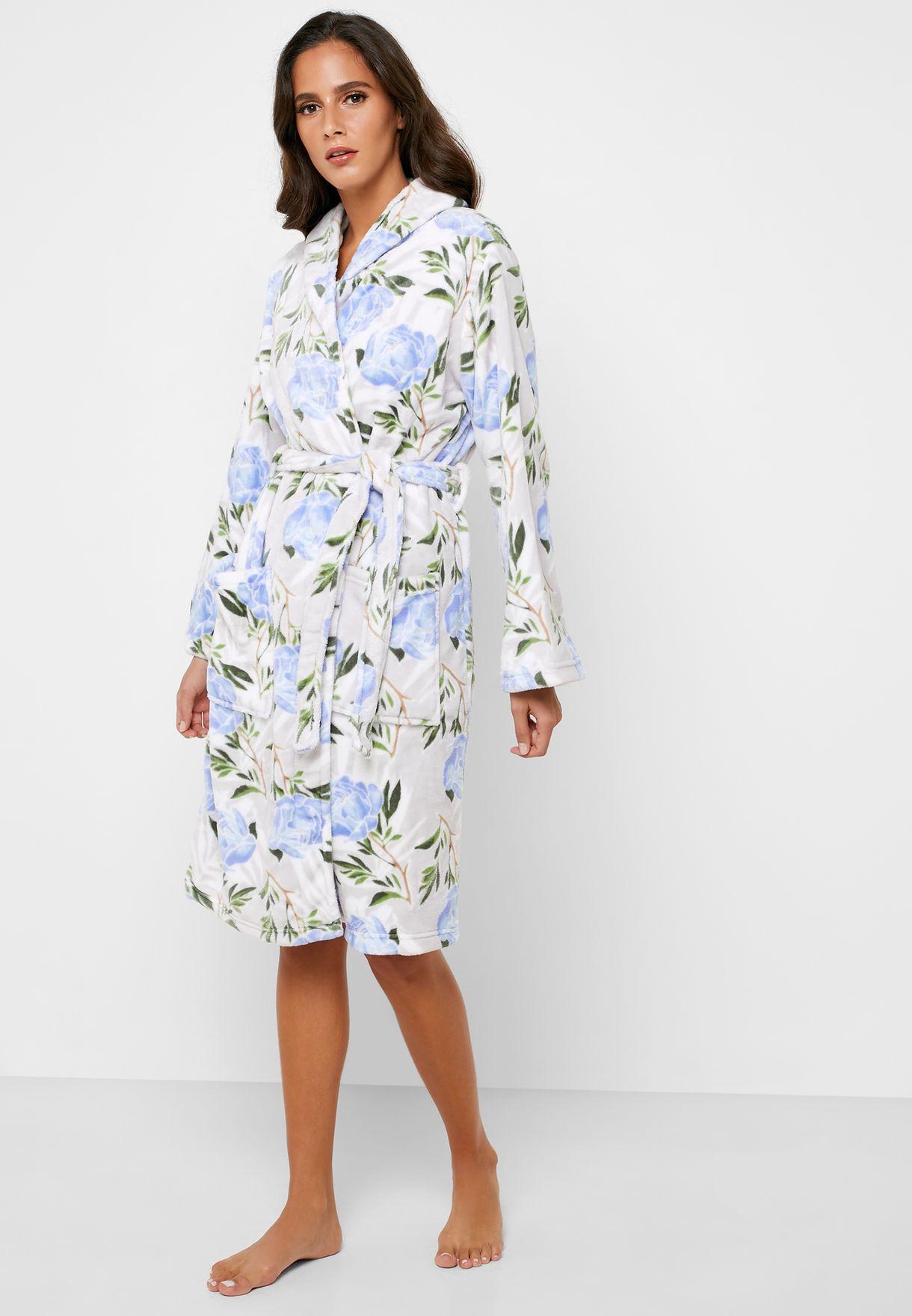 Floral Print Fleece Robe