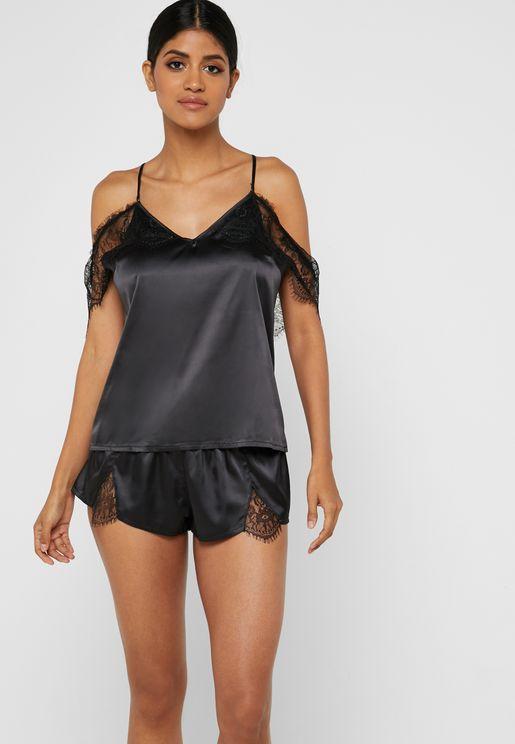 Cold Shoulder Top & Shorts Pyjama Set