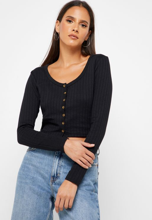 Ribbed Button Down Crop Top