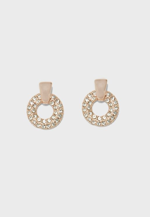 Pave Ring Drop Earring