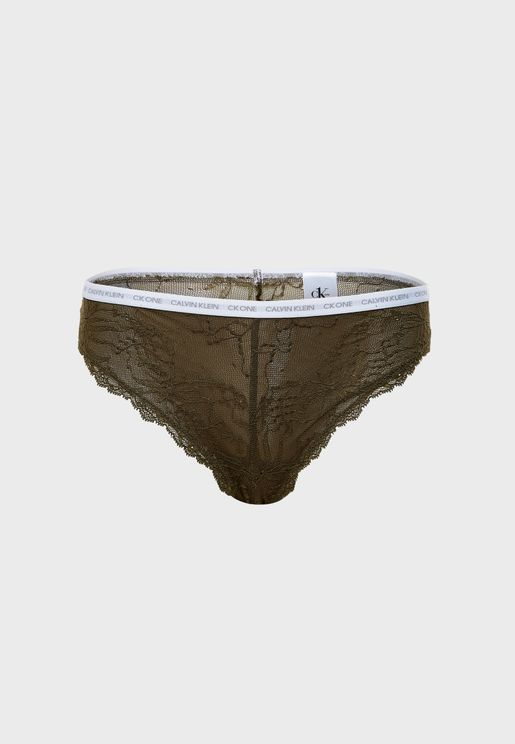 Logo Band Lace Brazilian Brief