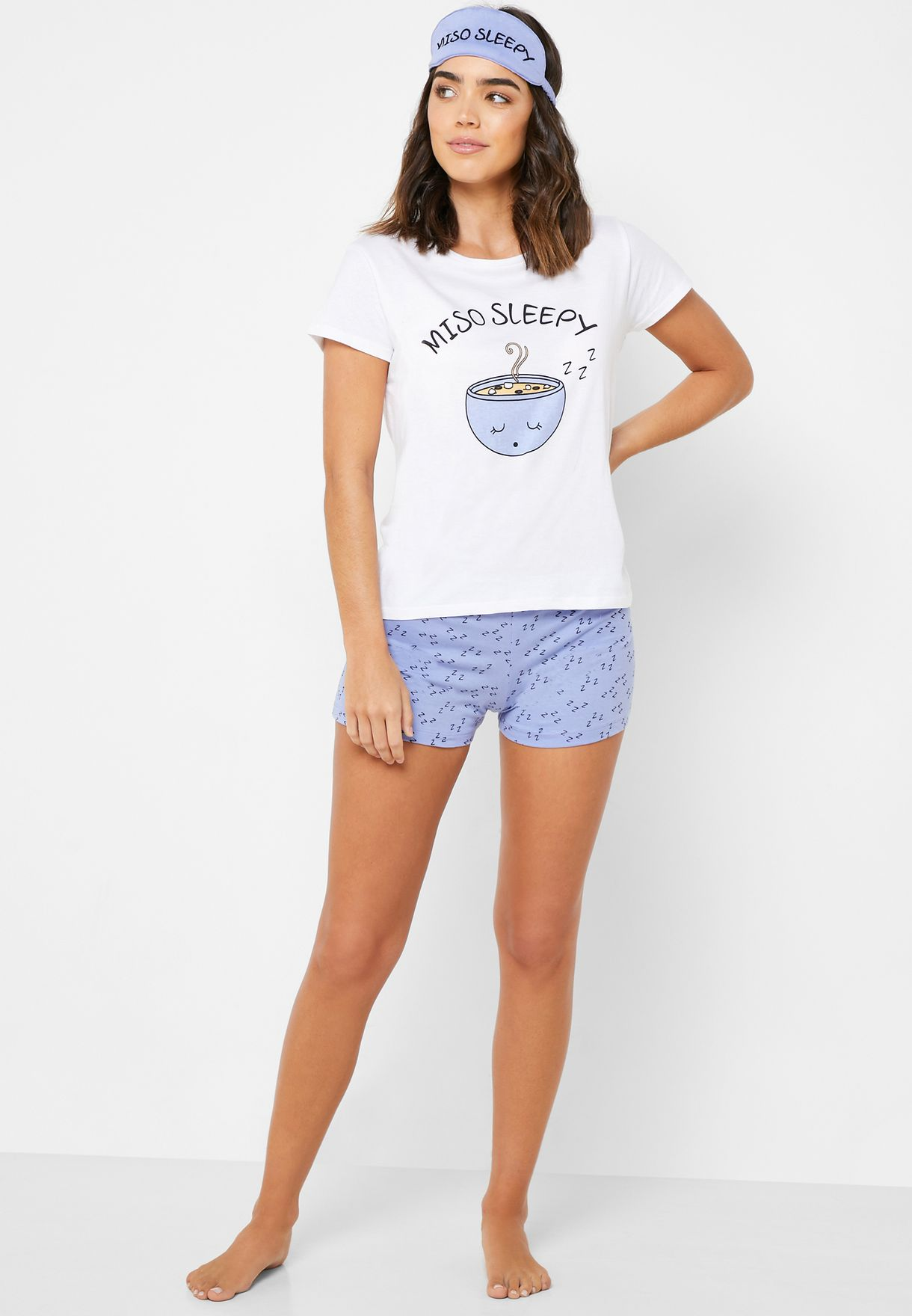 Slogan Pyjama Shorts Set