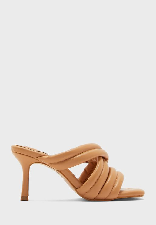 Quilted Cross Over Strap Stiletto Mule