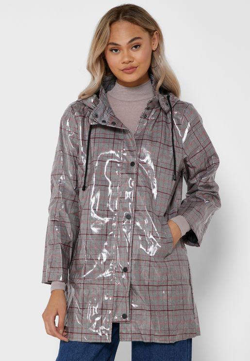 Checked Longline Rain Jacket