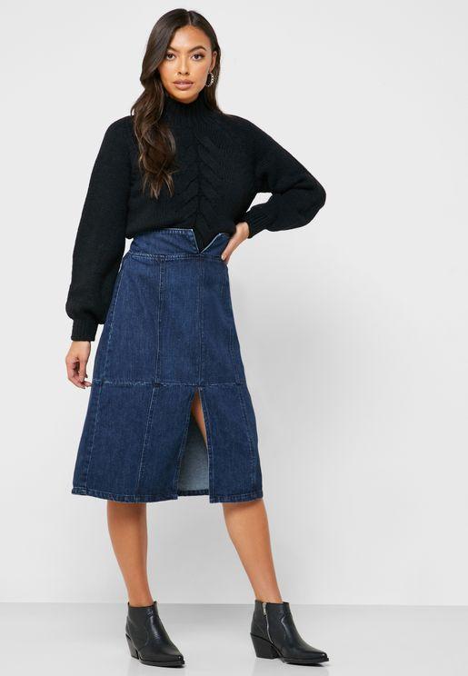 تنورة ميدي جينز بخصر عالي