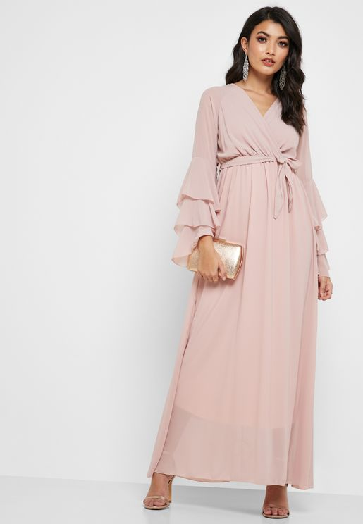 Tiered Sleeves Surplice Maxi Dress 47e06818b