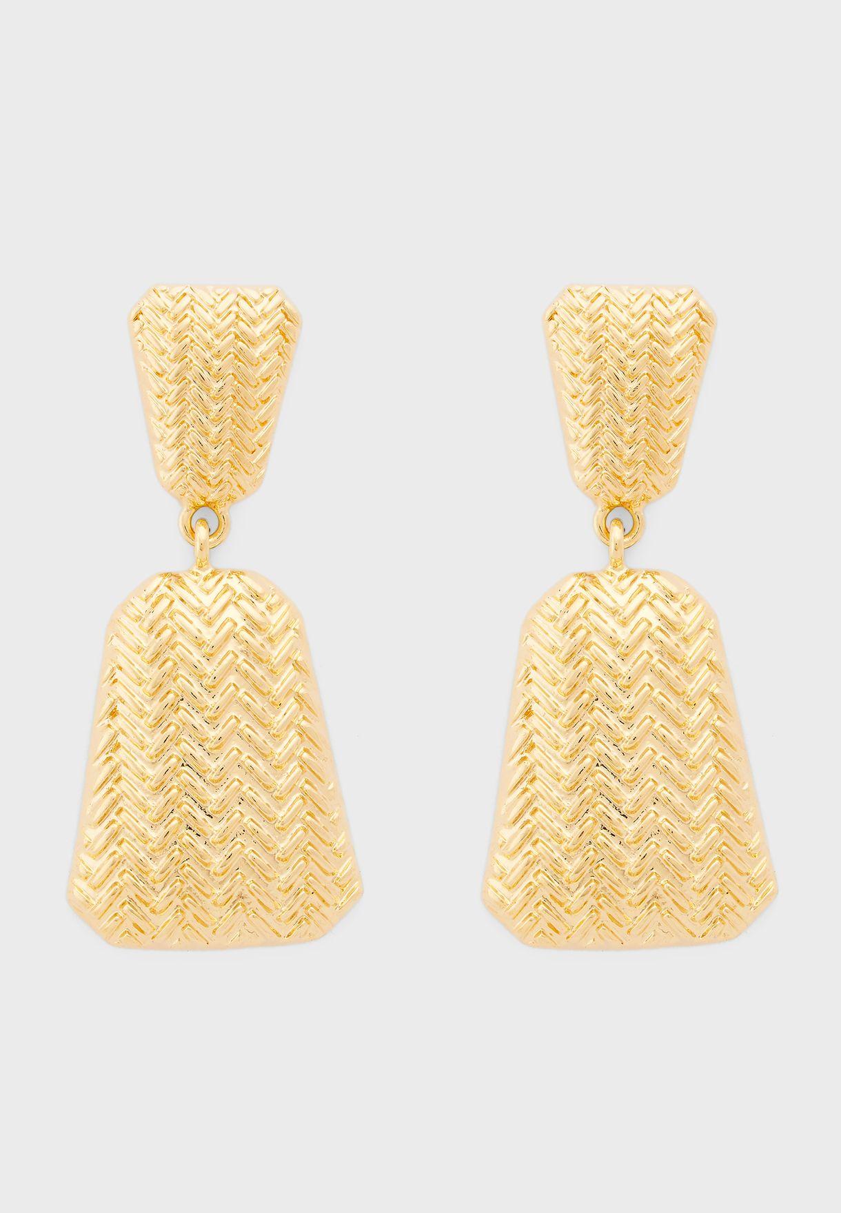 Weaved Triangle Drop Earrings