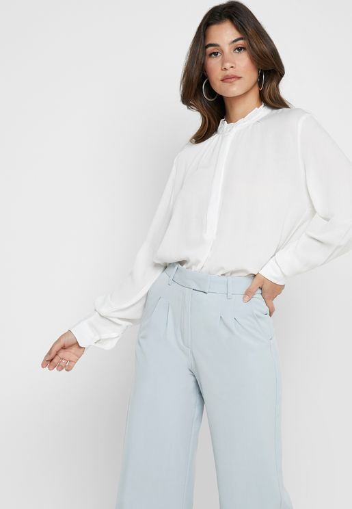 Ruffle Neck Long Sleeve Shirt