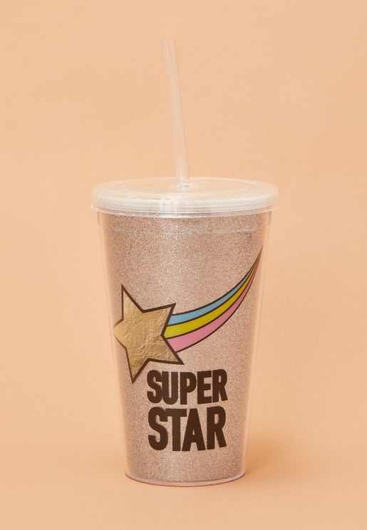 Super Star Flask With Straw