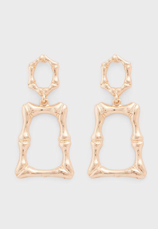 Bamboo Rectangle Drop Earrings