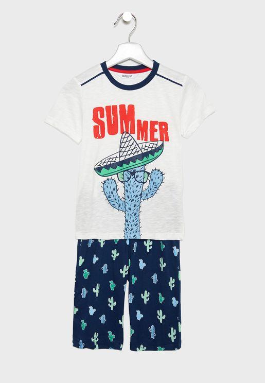 Little Cool T-Shirt + Printed Shorts Set