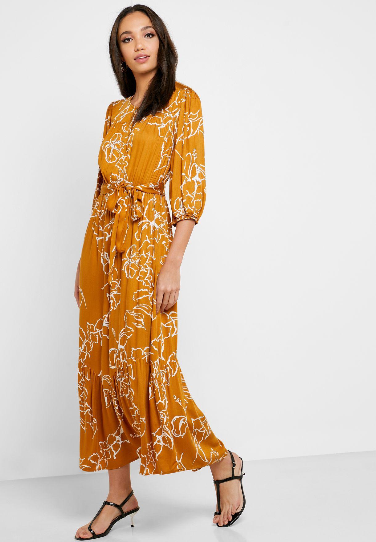 فستان مطبع بحزام خصر