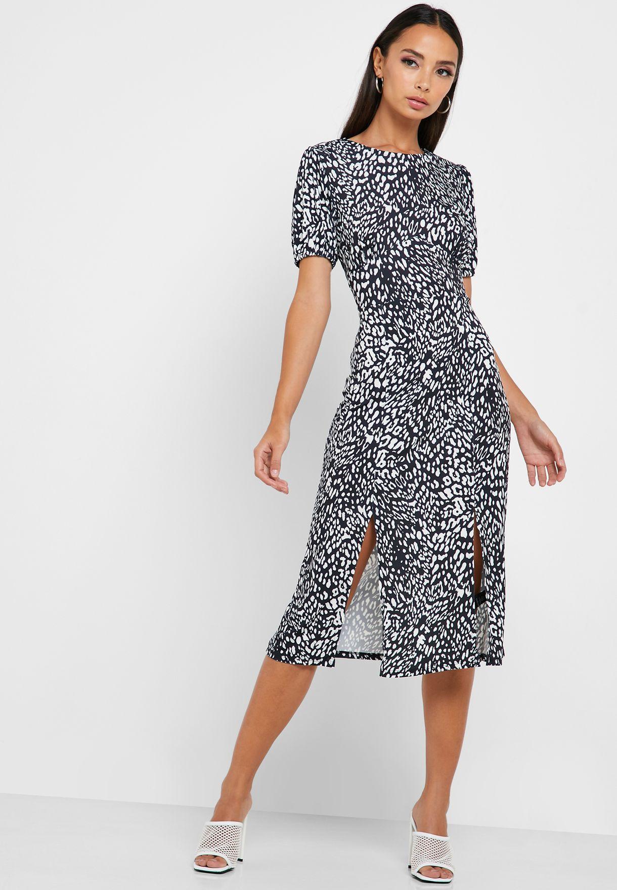 Leopard Print Front Slit Dress