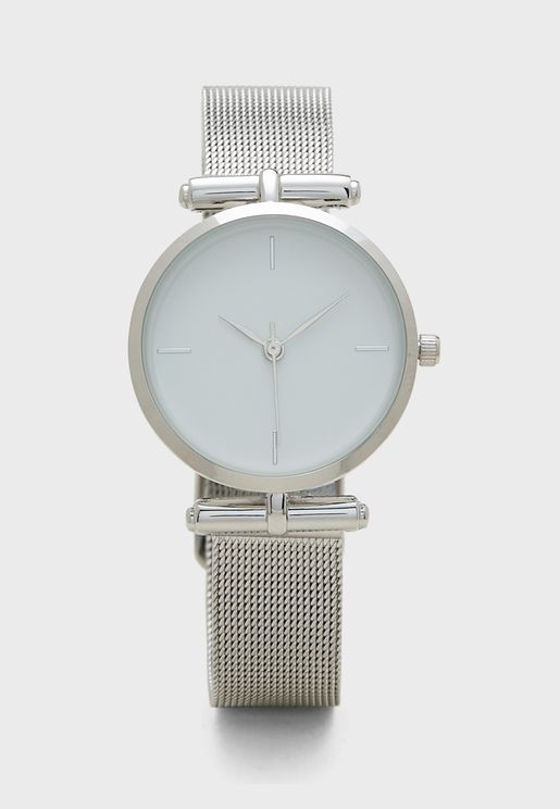 Clean Shoulder Mesh Watch
