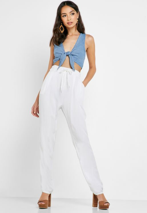 Linen Side Tape Paneled Pants