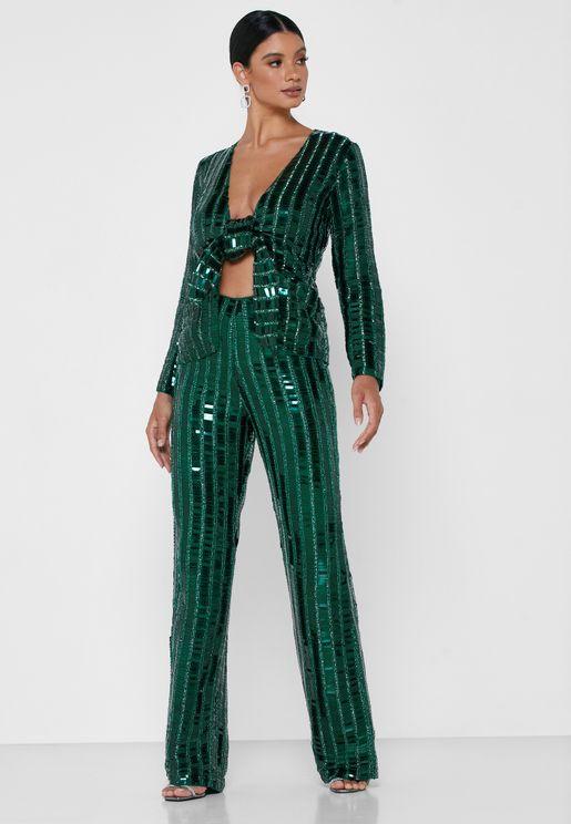 Sequin Straight Pants