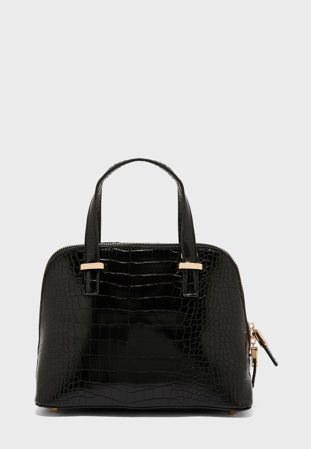 Croc Detail Top Handle Tote