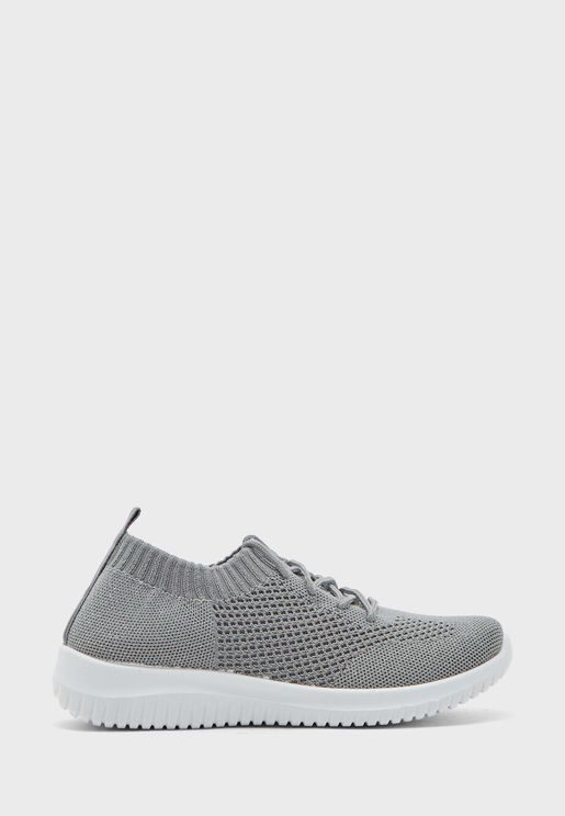 Knit Lace Up Comfort Sneakers