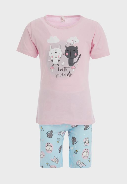 Kids Cat Print Pyjama Set
