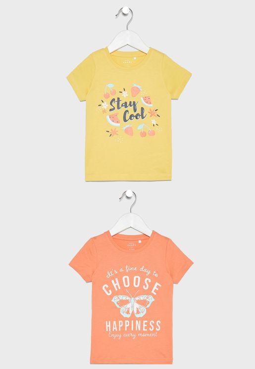 Kids 2 Pack Slogan T-Shirt