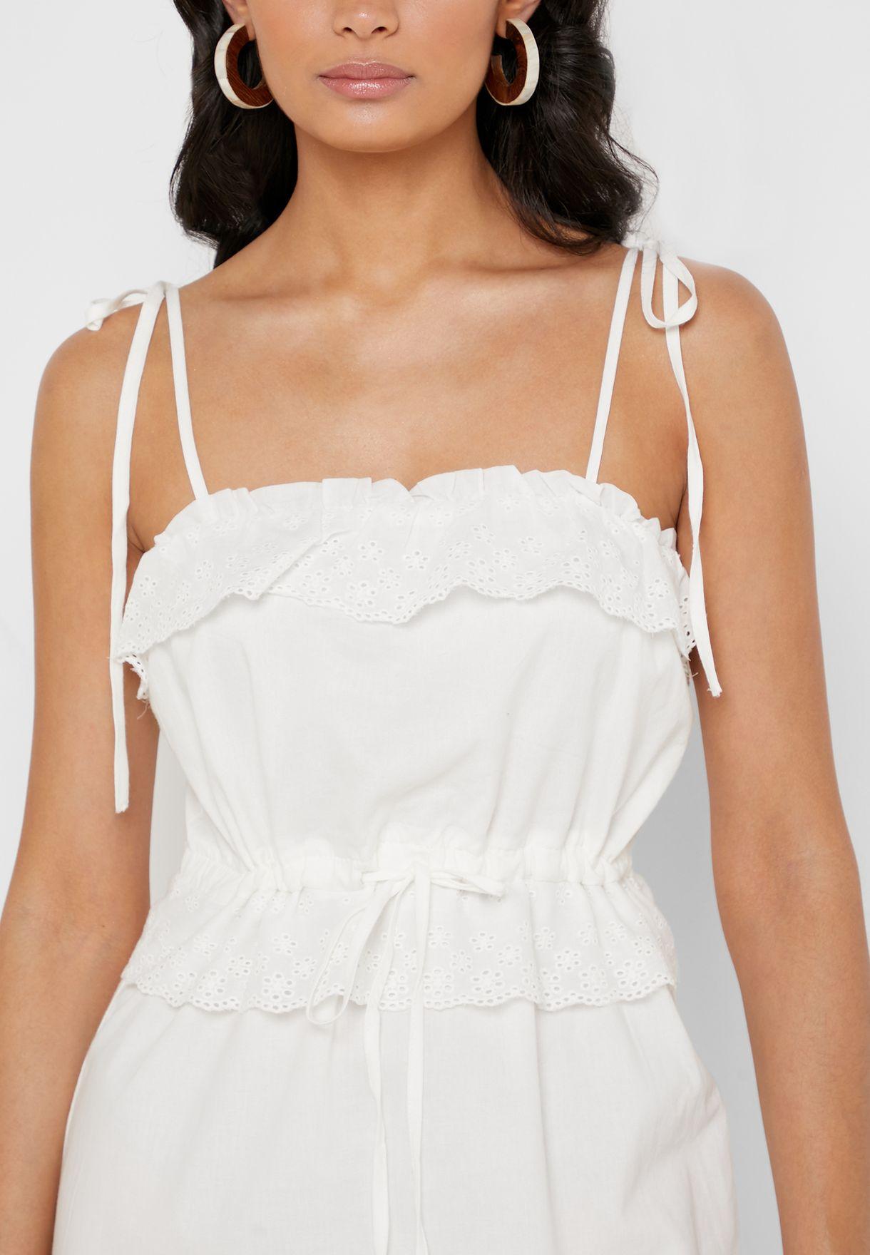 Tie Strap Lace Trim Dress